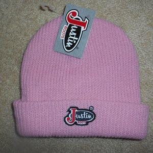 NWT Justin Boots Pink Knit Beanie Hat OSFA